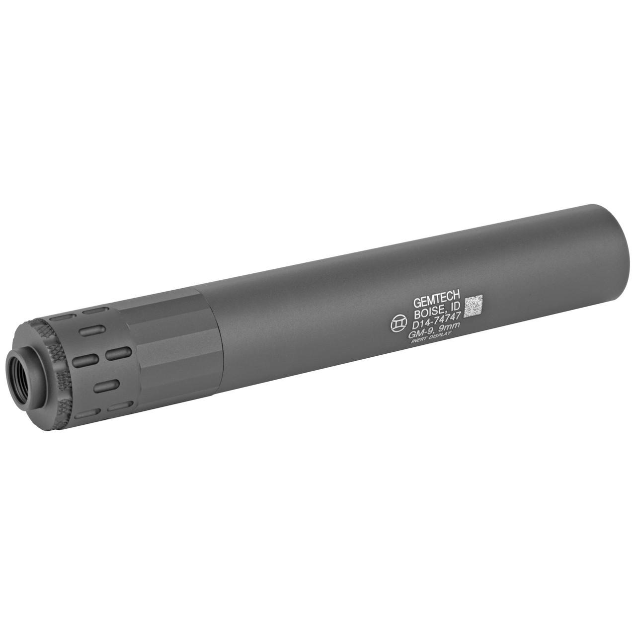 Gemtech GM-9, Display Suppressor, 9MM, Black, 1/2 X 28 TPI, Black Finish 12247