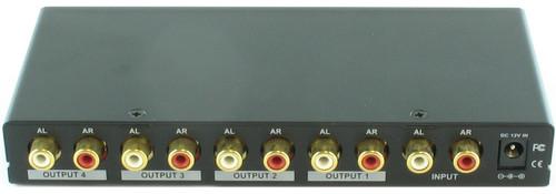 1x4 (1:4) 4-Way Stereo Analog R/L Audio Splitter Distribution Amplifier SB-3705