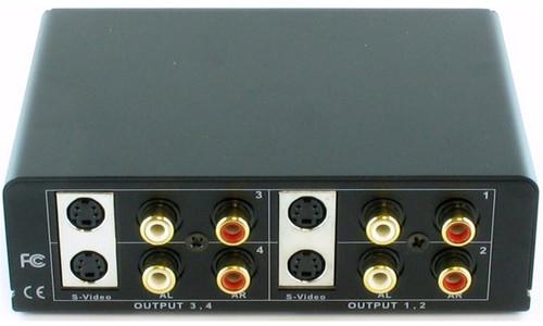 1x4 (1:4) 4-Way S-Video + Stereo Analog R/L Audio Splitter Amplifier SB-3716