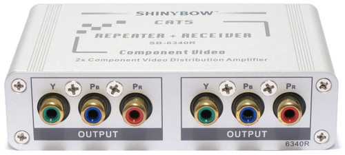 1x2 Component RCA Video Receiver Extender over CAT5 Splitter + Repeater SB-6340R