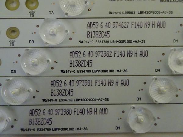 Sharp LC-43LB371U LED Backlight Strip Set (5) LBM430P1001-AJ-3S