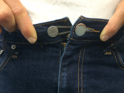 Spring Button Pant Extender in use