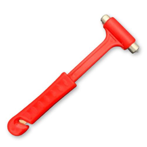 Car Safety Hammer: Window Breaker, Seat Belt Cutter (Long, Red)