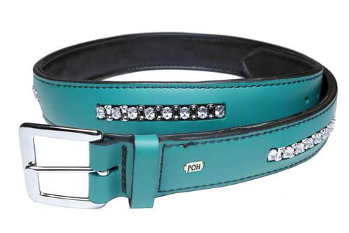 "Belt Segment 1 1/2"" Bolero Clear on Jade Leather Design"