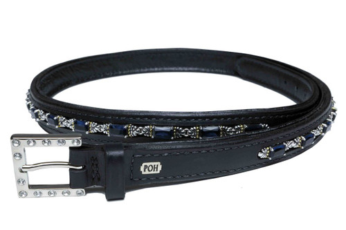 """Belt Full 7/8"""" Treasure Dark Blue Topaz Design"""