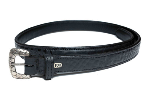 "Embossed Belt Alligator Black 1"" Design"