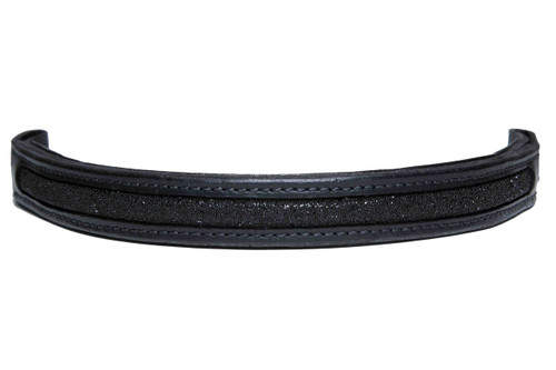 Browband Swarovski Black in Black Leather