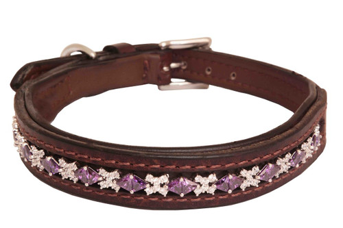 Dog Collar Large Ice Amethyst Clear Design