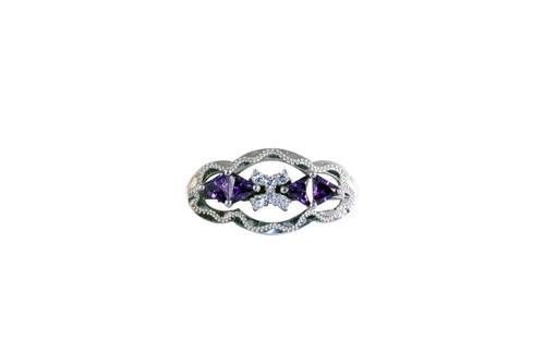 Stock Pin Ice Amethyst Clear Small Scallop Design