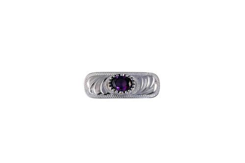 Stock Pin Oval Filigree Amethyst Design