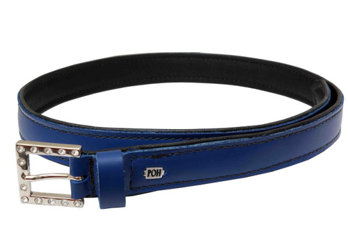 Leather Belt Royal Blue with Crystal Buckle