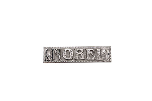 """Nameplate Raised Letter 2"""" Silver Letters over Silver Background Squared"""