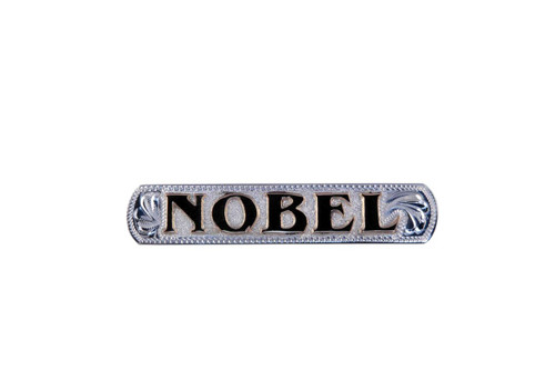 """Nameplate Raised Letters Sterling Silver Overlay Background Jewelers Brass Letters 2 1/2"""""""