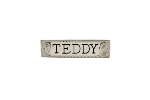 "Nameplate Engraved Letter 2"" Silver Squared End"