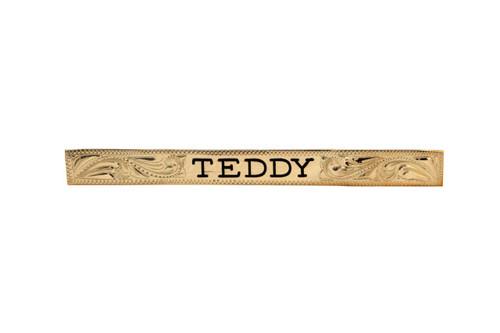 "Nameplate Brass Engraved Square End 4"" Design"