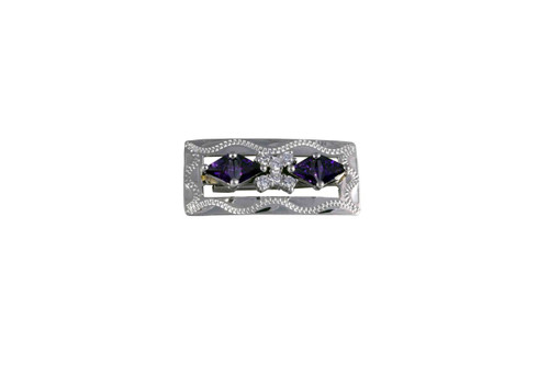 Stock Pin Ice Amethyst Clear Rectangle Design