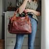 Hampton Leather  Zip Pocket Handbag, Distressed Brown