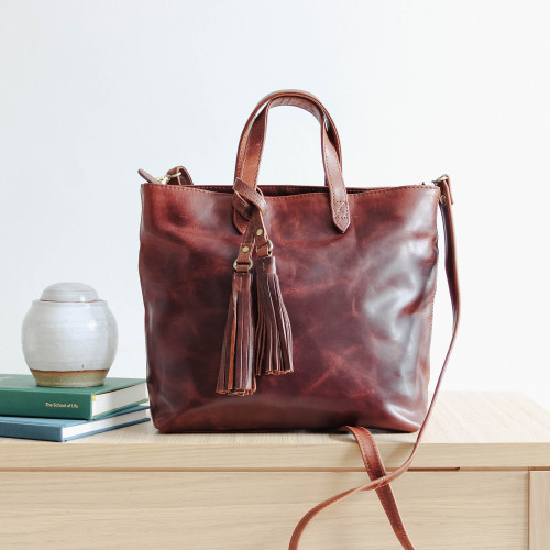 Pippa Leather Crossbody Shoulder Bag, Distressed Brown