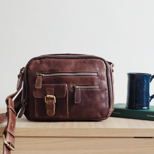 Molly Leather Pocket Crossbody Bag, Distressed Brown