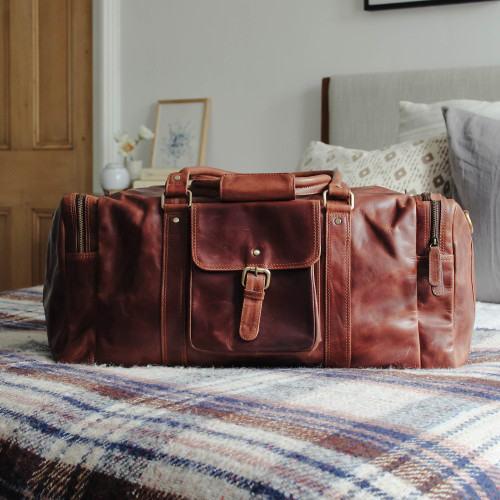 Kai Leather Front Buckle Pocket Travel Bag, Distressed Brown
