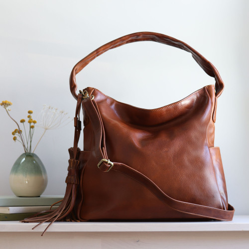 Maddy Leather Tassel Hobo Tote, Tan