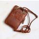Melody Leather Crossbody Smartphone Bag, Tan