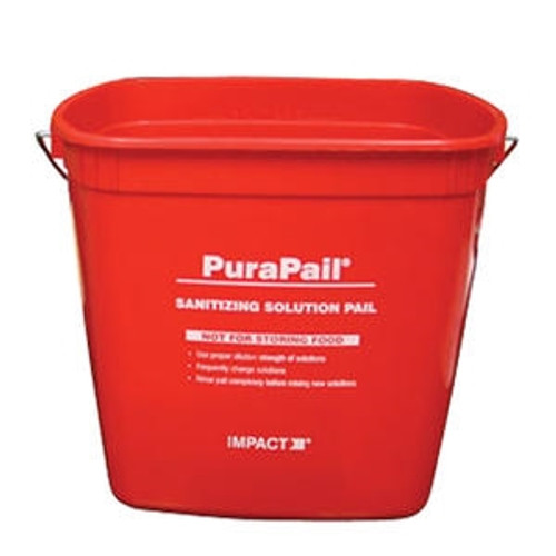 PuraPail Sanitizing Utility Bucket Square Red 6 qt