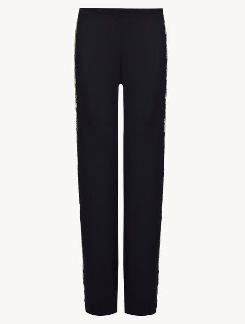 Dark blue plain jersey trousers