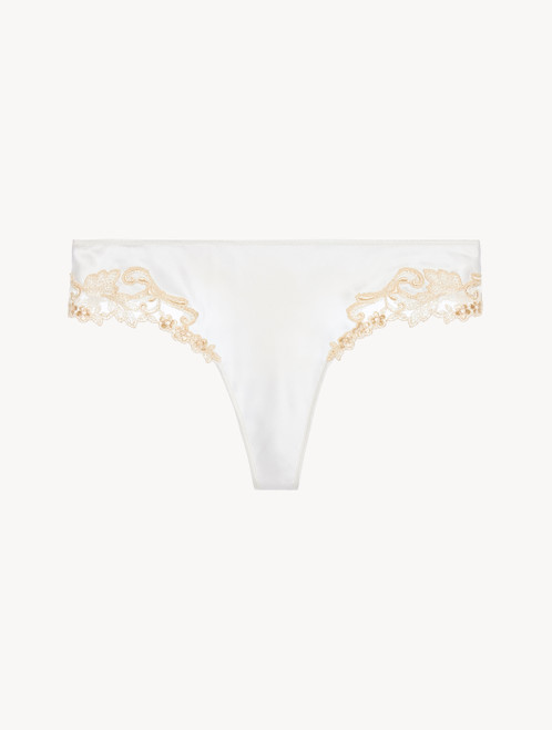 White silk satin thong with frastaglio