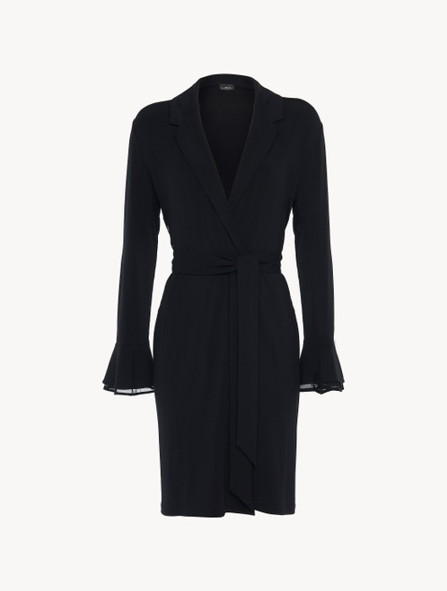 Robe in black modal stretch with Leavers lace