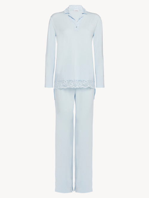Pyjamas in blue stretch modal jersey with Leavers lace
