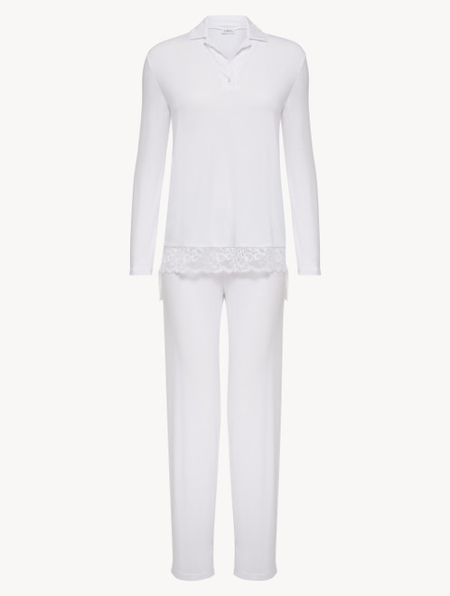 Pyjamas in white stretch modal jersey with Leavers lace