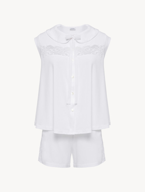 White pyjamas in stretch modal jersey with Leavers lace