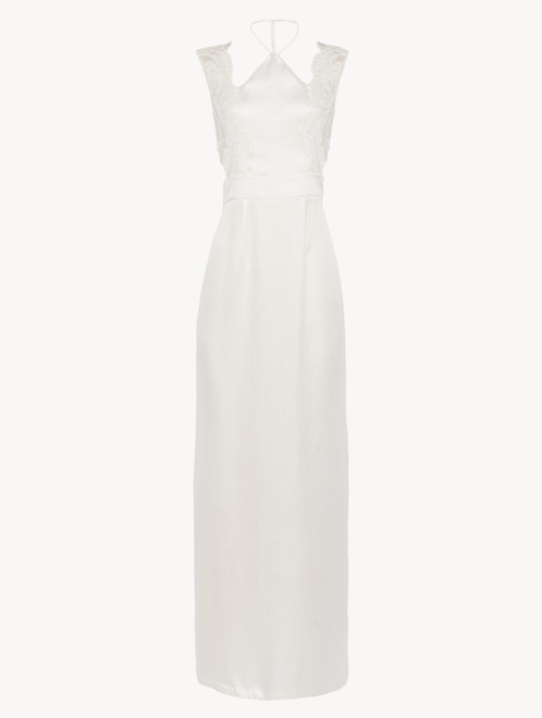 Halterneck nightgown in off-white silk with Leavers lace