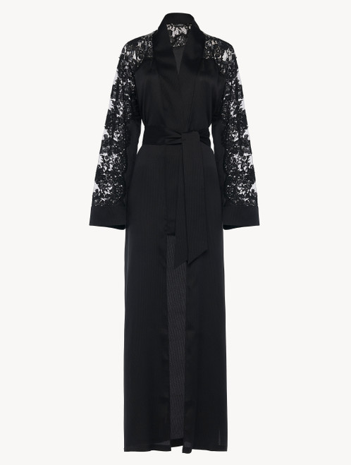 Robe in black silk and Leavers lace