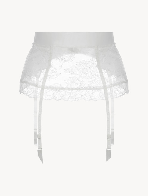 White Lycra control fit suspender with Chantilly lace