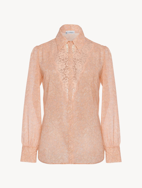Shirt in pink silk georgette with Leavers lace
