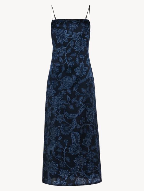 Nightdress in blue silk satin with Leavers lace