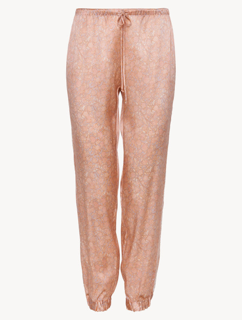 Trousers in pink silk satin