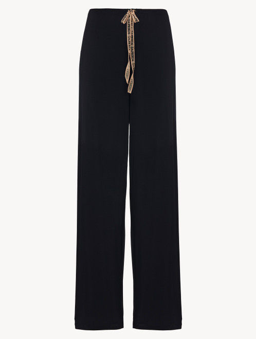 Trousers in black modal silk jersey