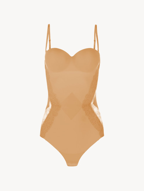 Nude Lycra control fit body with Chantilly lace