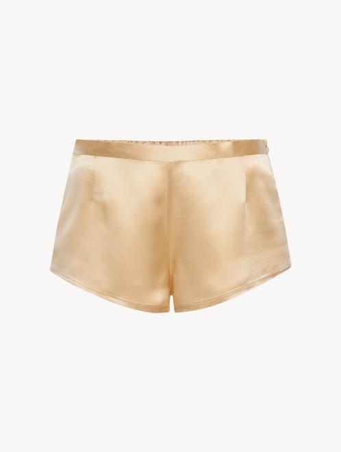 Silk shorts in beige