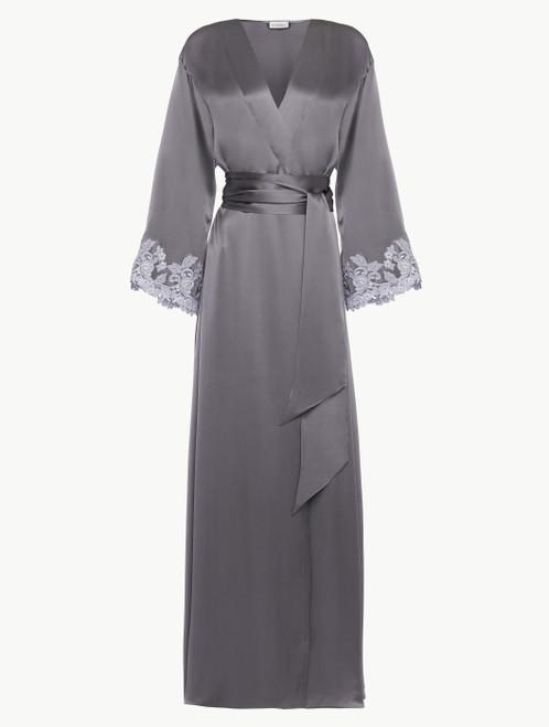 Grey silk long robe with lurex frastaglio