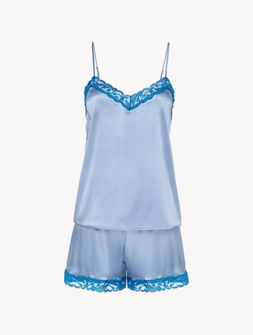 Short pyjamas in grey blue silk stretch with lace