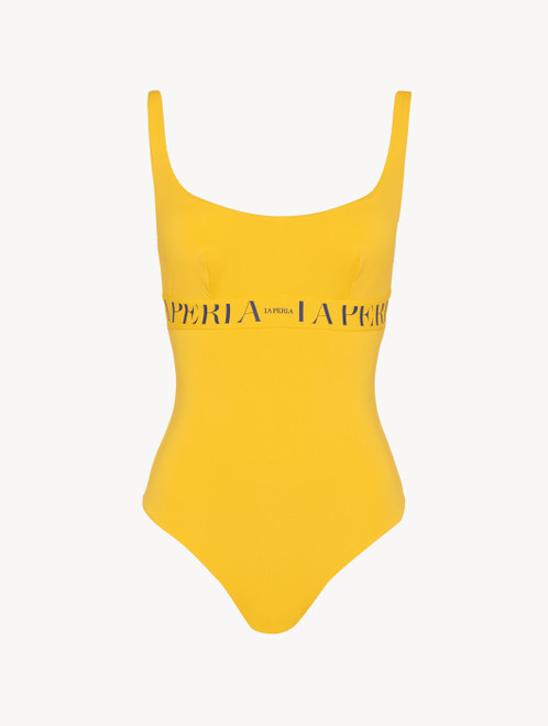 Swimsuit in yellow with logo