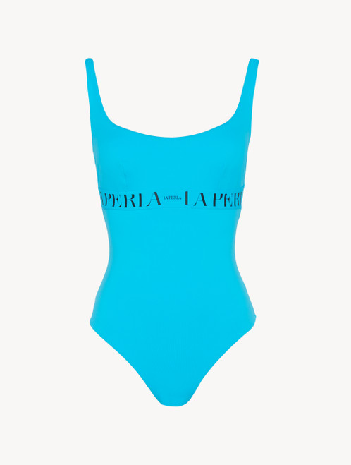 Swimsuit in turquoise with logo