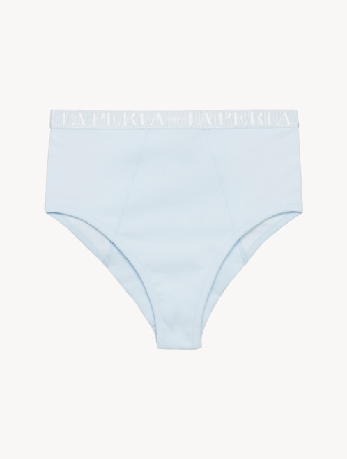 High-waisted brief in blue grey stretch cotton