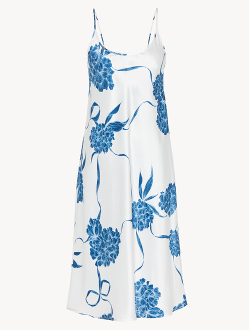 Silk nightdress with dusty blue florals