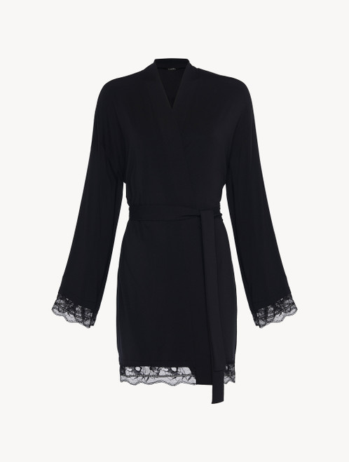 Short robe in black rayon with lace