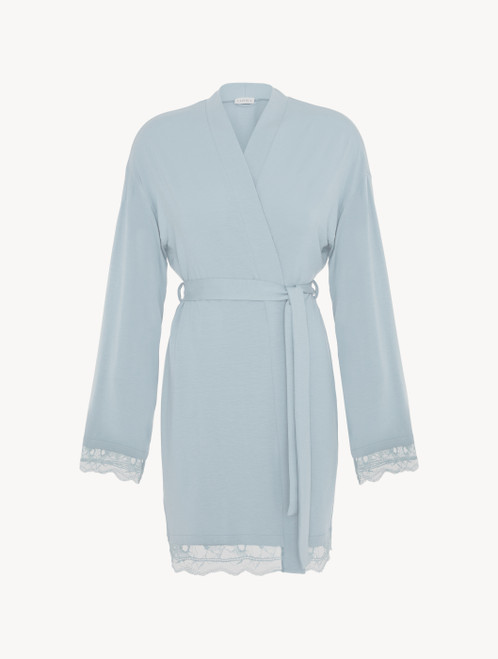 Short robe in light blue rayon with lace